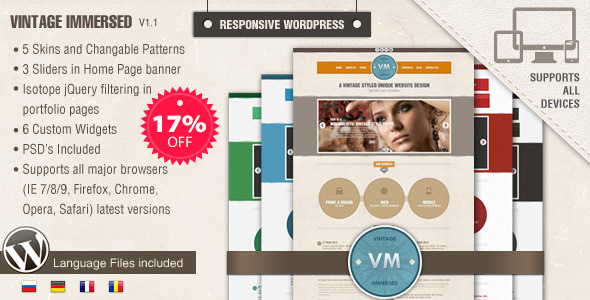 Vintage Immersed - Vintage WordPress Theme by designthemes ...