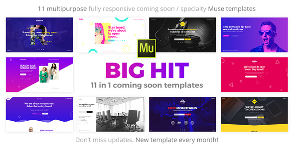 BigHit - 11 in 1 Coming Soon Responsive Muse Templates by vinyljunkie
