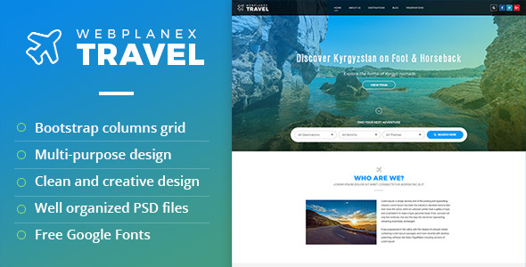 Tour travel psd template by webplanex by webplanex themeforest pronofoot35fo Image collections