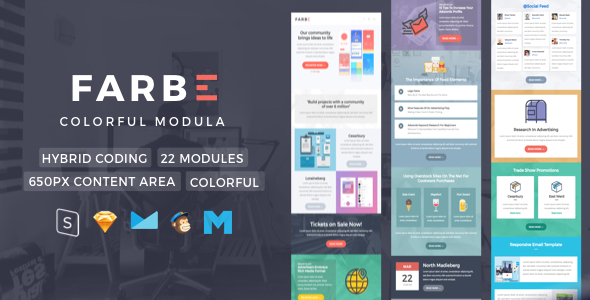 Farbe Newsletter Template By Nutzumi ThemeForest - Newsletter content template