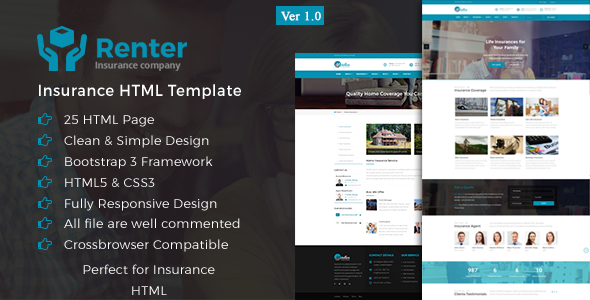 insurance html5 templates  Renter - Insurance HTML5 Template by iGlyphic | ThemeForest