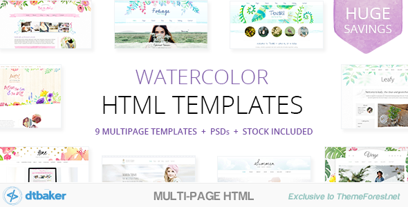 9 watercolor html multipurpose templates by dtbaker themeforest 9 watercolor html multipurpose templates creative site templates maxwellsz