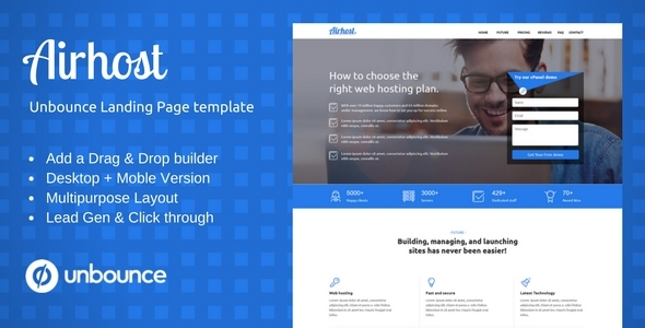 MultiPurpose Template With Unbounce Page Builder Airhost By ILMThemes - Lead generation website template