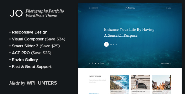 Jo - Responsive Photography Portfolio WordPress Theme by wphunters