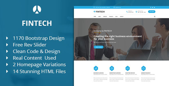 Fintech - Business, Finance & Corporate HTML Template by TheMazine