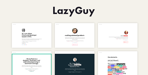 LazyGuy Personal Landing Page Template For Everyone By Pixelwars - Personal landing page template