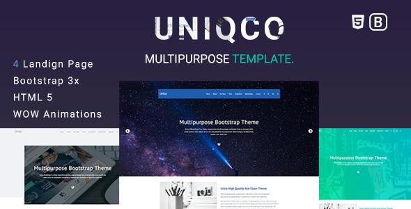 Uniqco Multipurpose Responsive Bootstrap Landing Page Template By - Bootstrap landing page template
