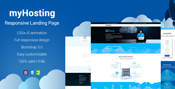 MyHosting Bootstrap Landing Page HTML Template By EXSYthemes - Landing page html template
