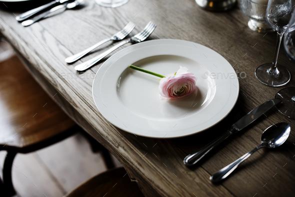 Elegant Restaurant Table Setting Service for Reception - Stock Photo - Images & Elegant Restaurant Table Setting Service for Reception Stock Photo ...