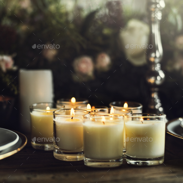 Candles Lighten Up On Table For Reception Dining In Restaurant Stock - Restaurant table candles