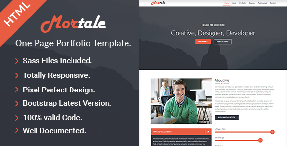 Mortale | One Page Personal Portfolio HTML Template by ahmedbeheiry