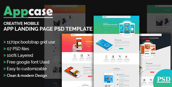 AppCase App Landing Page Template by themexone | ThemeForest