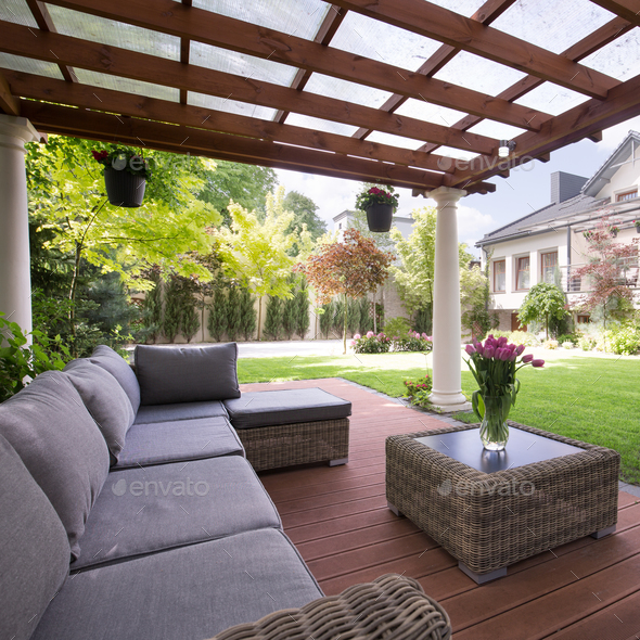 luxury garden furniture stock photo images