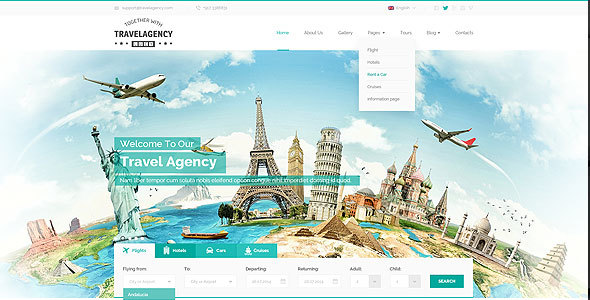 travel agency bootstrap template travel retail