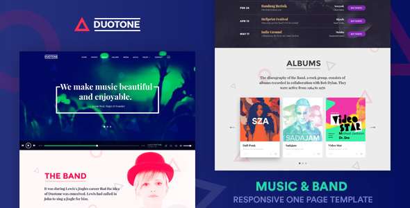 music band responsive website template duotone by surjithctly