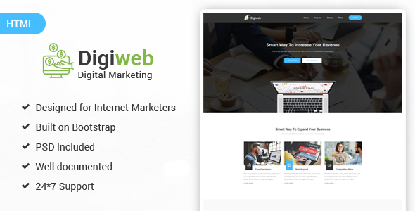 DigiWeb - Internet Marketing Landing HTML Template by Melothemes ...