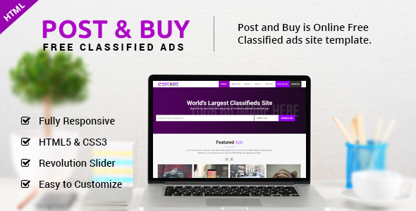 buy template html  Post and Buy - Classified Ads HTML Template by ecreativesol ...