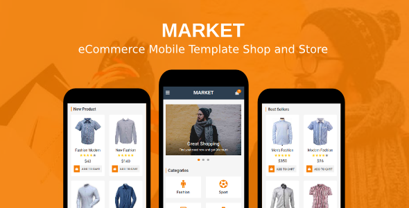 market ecommerce mobile template shop and store by