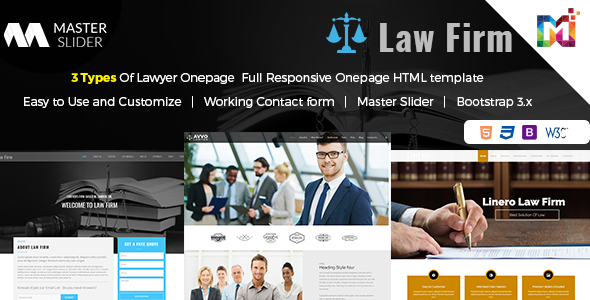Responsive Website Template Law Firm - One Page by multipurposethemes