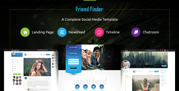 friend finder a social network html5 template by thunder team