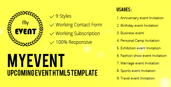 Myevent the upcoming event html5 responsive template by sreethemes myevent the upcoming event html5 responsive template entertainment site templates stopboris Image collections