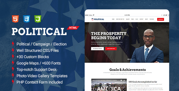Political - Multipurpose Campaign, Election HTML Template by ThemeSLR
