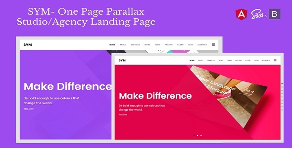 Sym- One Page Parallax Studio/Agency Landing Page by Hencework ...