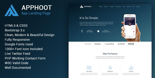 Apphoot - Responsive App Landing Page Template by webmechanicx ...