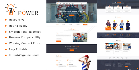 power electrician repairing html template by tonatheme themeforest