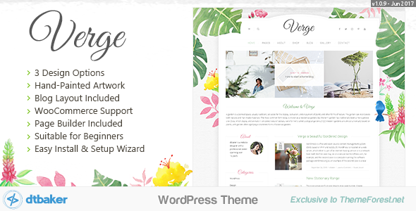 Verge - Easy Watercolor WordPress Theme by dtbaker | ThemeForest