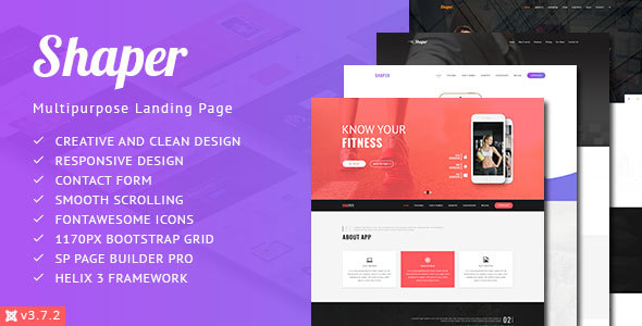 Shaper Responsive App Landing Page Template By PerfectusInc - Joomla landing page template