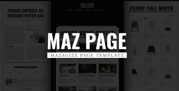 Mazpage Magazine News Blog Shop Newspaper Template By Cizthemes