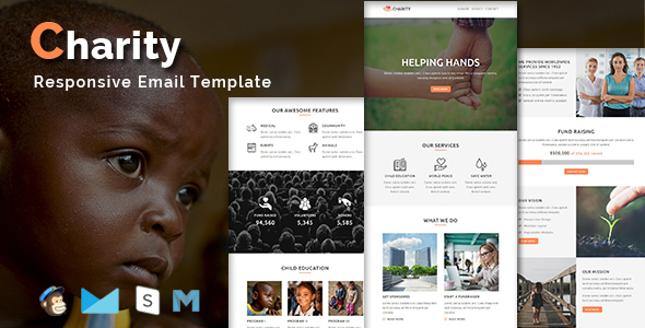charity responsive email template with stamp ready builder access