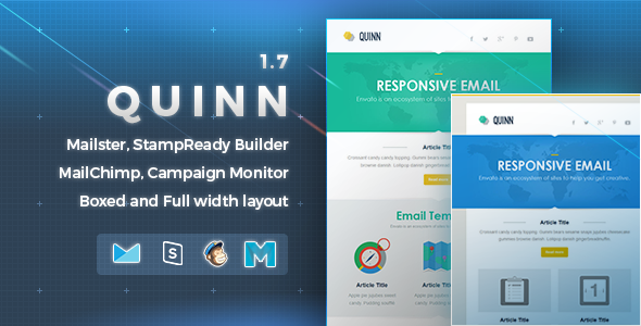 Quinn Responsive Email Template By Nutzumi ThemeForest - Mailchimp template width