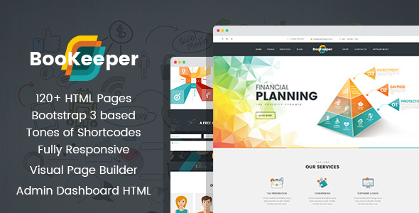 BooKeeper FinancesAccounting HTML Template With Builder And - Accounting dashboard template