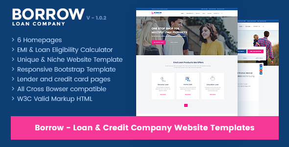 Borrow - Loan Company Responsive Website Templates By Jitu
