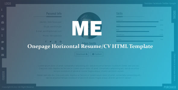 me onepage horizontal resumecv template by codepedant themeforest