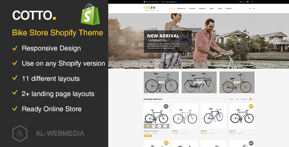 Cotto Bike Store Shopify Theme By KLWebmedia ThemeForest - Shopify landing page template