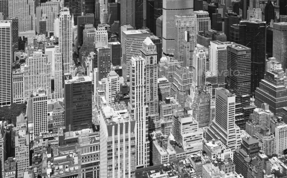 Black And White Aerial Picture Of Manhattan Skyscrapers NYC