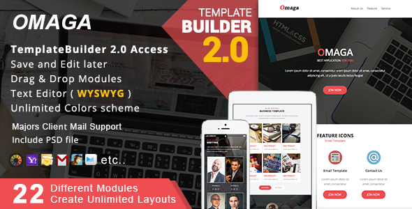 Omaga - Responsive Email + MailBuild Online by akedodee | ThemeForest