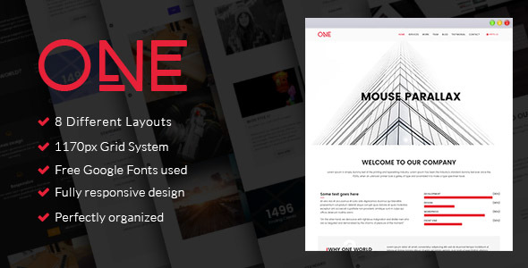 One - Parallax HTML Template by venbradshaw | ThemeForest