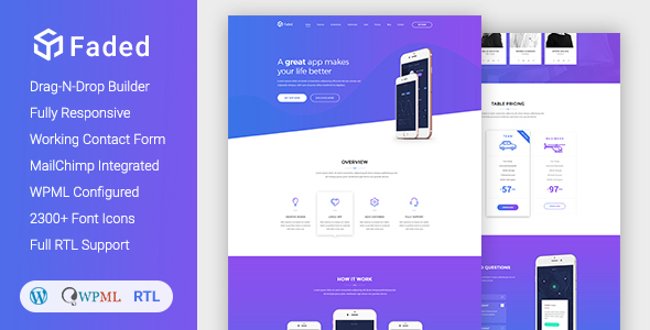 Faded - Responsive App Landing Page WordPress Theme + RTL by DroitThemes