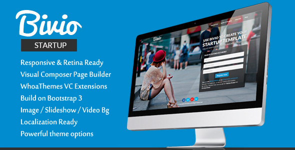 Bivio - Bootstrap 3 App Landing Page WordPress by Qodux | ThemeForest