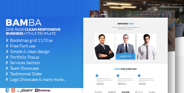 Bamba one page clean responsive business html5 template by bamba one page clean responsive business html5 template corporate site templates fbccfo Image collections