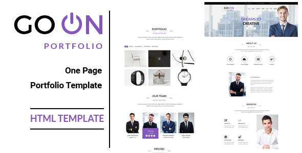 go on one page portfolio html template by wpplayers themeforest