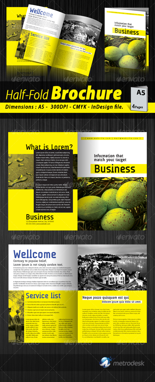 a5 half fold corporate brochure 4 pages by metrodesk graphicriver