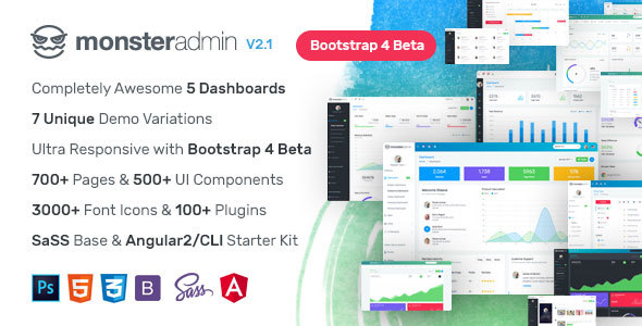 Monster - Most Complete Bootstrap 4 Admin Template + Angular 2/Cli