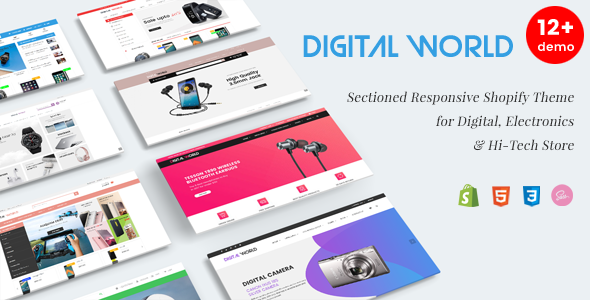Digital World Sectioned Responsive Shopify Theme For Digital - Shopify store templates