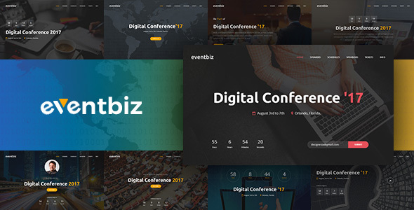 Eventbiz Conference Event And Seminar Website Template By Designesia - Event website template