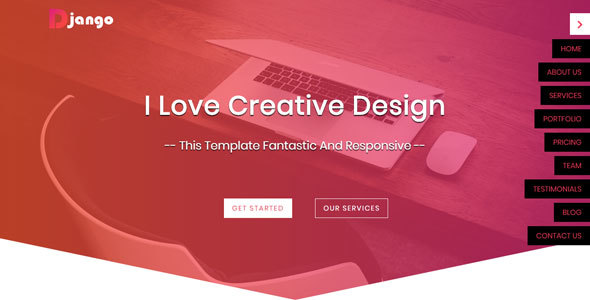 Django one page html5 website template by hozaifa gawesh for Django site templates